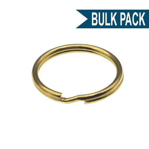 Brass Plated 1 Inch Split Key Ring Bulk Pack of 100