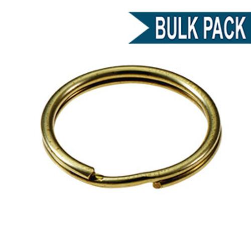 Solid Brass Split Key Ring 3/4 Inch Diameter (USA)-BULK PACK of 100