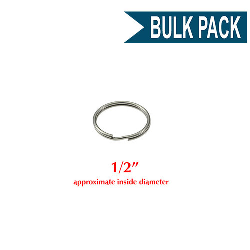 Photo of Heavy Duty Split Key Ring Nickel Plated 1/2 Inch Diameter (USA)-BULK PACK of 100