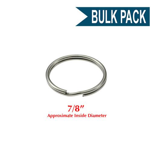 Photo of Heavy Duty Split Key Ring Nickel Plated 7/8 Inch Diameter (USA)-BULK PACK of 100