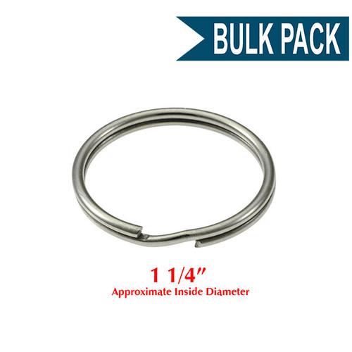 Photo of Heavy Duty Split Key Ring Nickel Plated 1-1/4 Inch Diameter (USA)-BULK PACK of 100