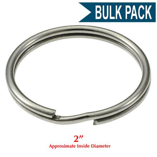Photo of Heavy Duty Split Key Ring Nickel Plated 2 Inch Diameter (USA) -BULK PACK of 100