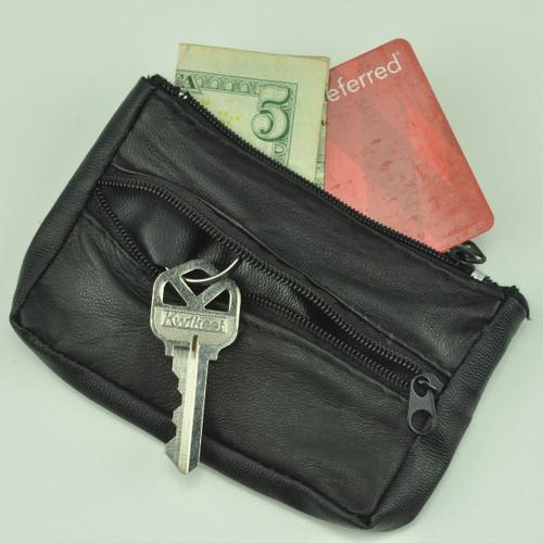 Soft Leather-Like Key Case with Split Key Ring