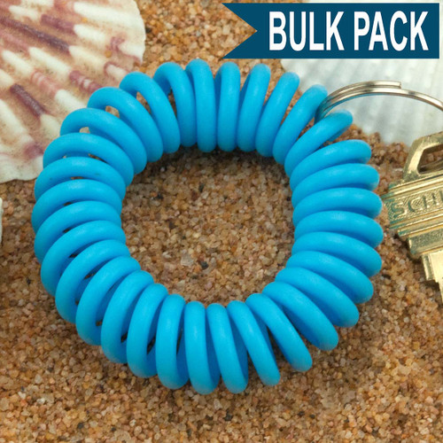 Light Blue Wrist Coil Spiral Keyring - 12 Pc. Bulk Pack