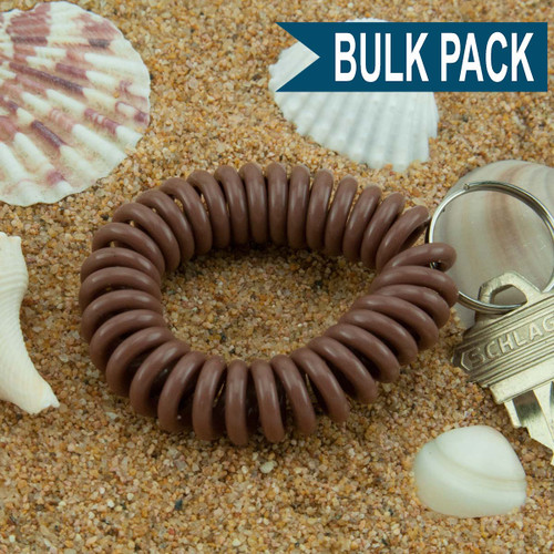 Mocha Brown Wrist Coil Spiral Keyring - 12 Pc. Bulk Pack