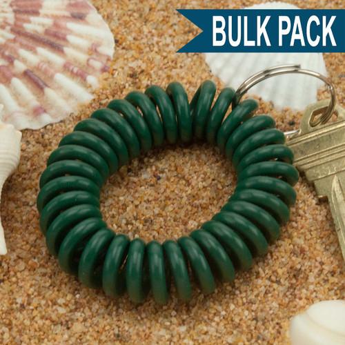 Green Wrist Coil Spiral Keyring - 12 Pc. Bulk Pack