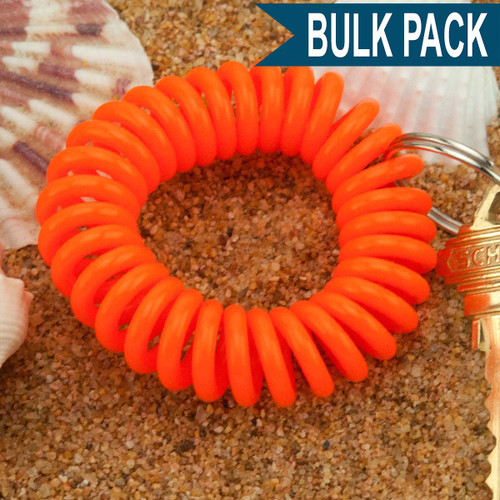 Orange Wrist Coil Spiral Keyring - 12 Pc. Bulk Pack