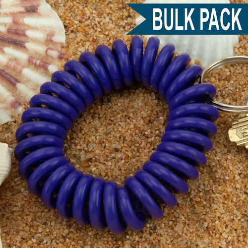 Purple Wrist Coil Spiral Keyring - 12 Pc. Bulk Pack