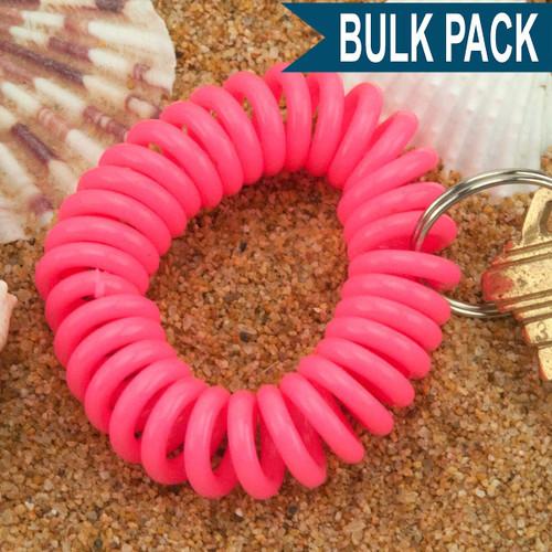 Pink Wrist Coil Spiral Keyring - 12 Pc. Bulk Pack