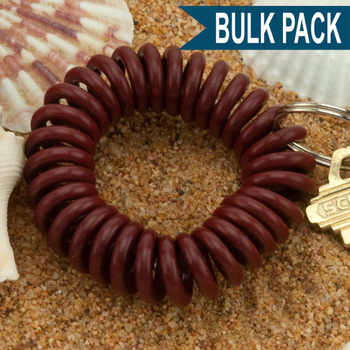 Chocolate Brown Wrist Coil Spiral Keyring - 12 Pc. Bulk Pack