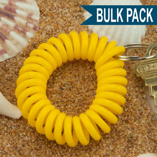 Yellow Wrist Coil Spiral Keyring - 12 Pc. Bulk Pack