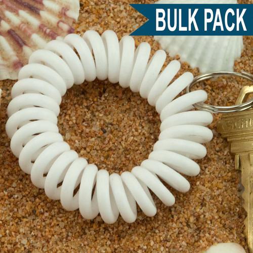 White Wrist Coil Spiral Keyring - 12 Pc. Bulk Pack