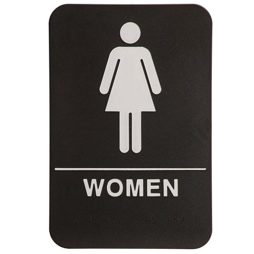 6 Inch x 9 Inch ADA with braille dots.  Wall or Door Sign made of a heavy duty black plastic with white text. Women's Room with silhouette.