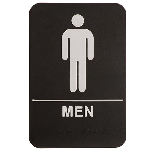 6 Inch x 9 Inch ADA with braille dots.  Wall or Door Sign made of a heavy duty black plastic with white text. Men's Room with silhouette.