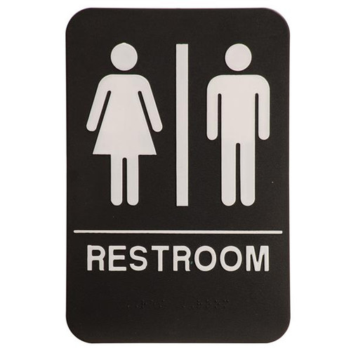 6 Inch x 9 Inch ADA with braille dots.  Wall or Door Sign made of a heavy duty black plastic with white text. Restroom Room with silhouette's of Man and Woman.