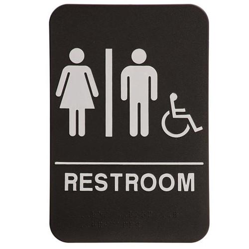 6 Inch x 9 Inch ADA Sign - Restroom with Handicap Symbol