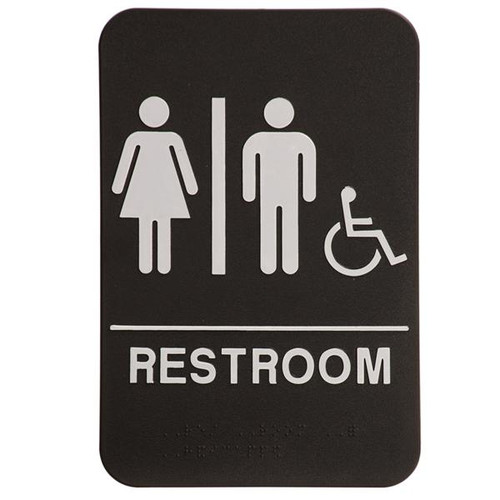 6 Inch x 9 Inch ADA with braille dots.  Wall or Door Sign made of a heavy duty black plastic with white text. Restroom silhouette's Men and Woman with Handicap symbol.
