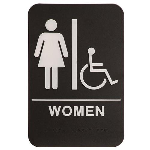 6 Inch x 9 Inch ADA Sign - Women's Room with Handicap Symbol