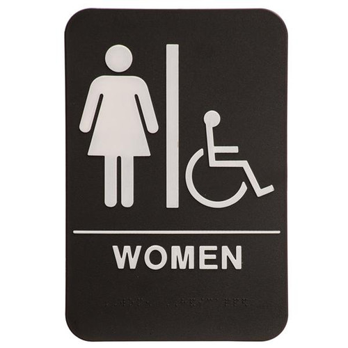 6 Inch x 9 Inch ADA with braille dots.  Wall or Door Sign made of a heavy duty black plastic with white text. Women's Room silhouette with Handicap Symbol