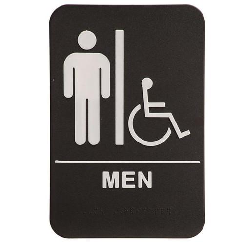 6 Inch x 9 Inch ADA Sign - Men's Room with Handicap Symbol