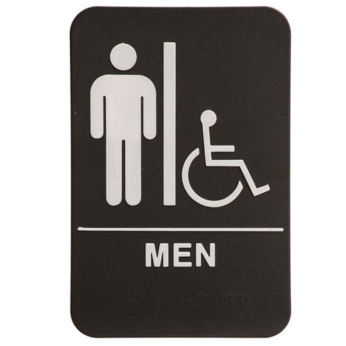 6 Inch x 9 Inch ADA with braille dots.  Wall or Door Sign made of a heavy duty black plastic with white text. Men's Room silhouette with Handicap Symbol