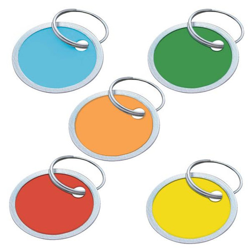Color Paper Tags with Metal Rim 1.25 Inch Round - 25 to a Bag