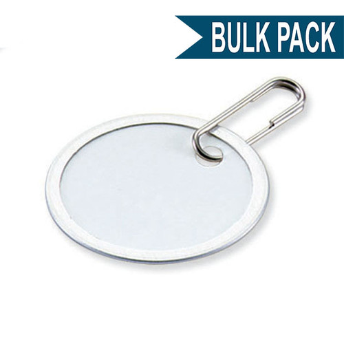 Metal Rim Paper Tag with Clip 1.25 Inch Round Bulk Pack of 50