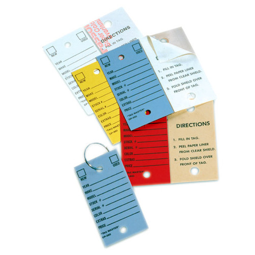 Self Protecting Auto Dealer / Repair Shop Key Tag with Keyring