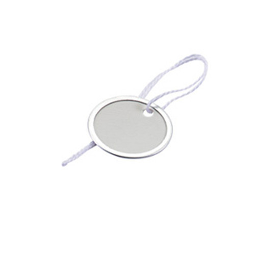 Metal Rim Paper Key Tag with String - 1-9/16 Inch
