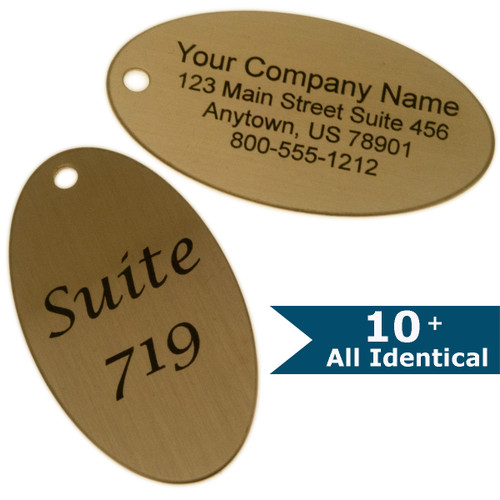 Lacquered Brass Oval Tag - CUSTOM ENGRAVED - All Identical