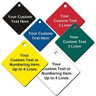 Custom Engraved Diamond Shape Plastic Tags