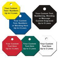 Custom Engraved Octagon Shape Plastic Tags