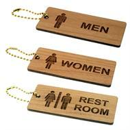 Solid Wood Restroom and Bathroom Key Tags
