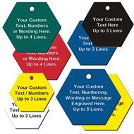 Custom Engraved Hexagon Shape Plastic Tags
