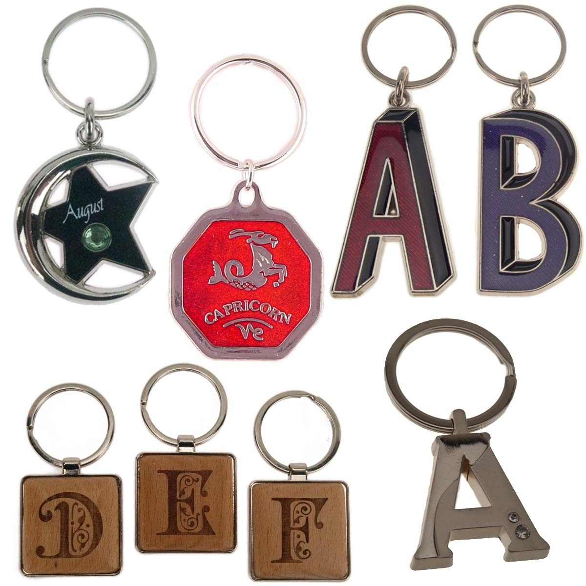 Initial and Zodiac Key Rings