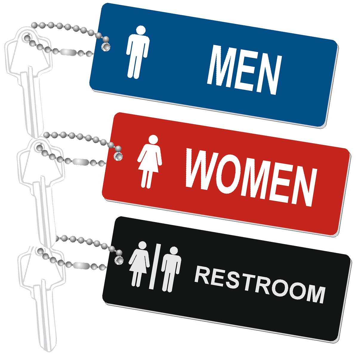 Standard Rectangle Restroom Key Tags