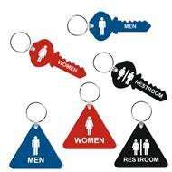 Key and Triangle Shape Restroom Key Tags