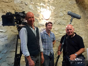 Chris, Martin and Pete, the camera and sound guys