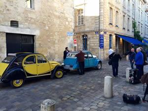 A choice of 2CVs outside La Tupina in Bordeaux