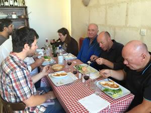 Team lunch at Chez Mémé in St-Julien