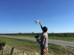 Josh with his drone - perfect weather for filming in St-Julien and Pauillac