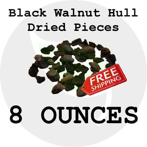 8 oz. Black Walnut Hulls Dried - Natural Crushed Pieces - Stock Photo