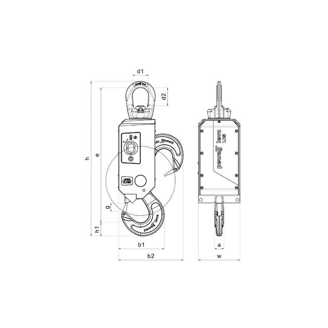 pewag levo hook LH5 5t + Magnet & Light Module (DE) on