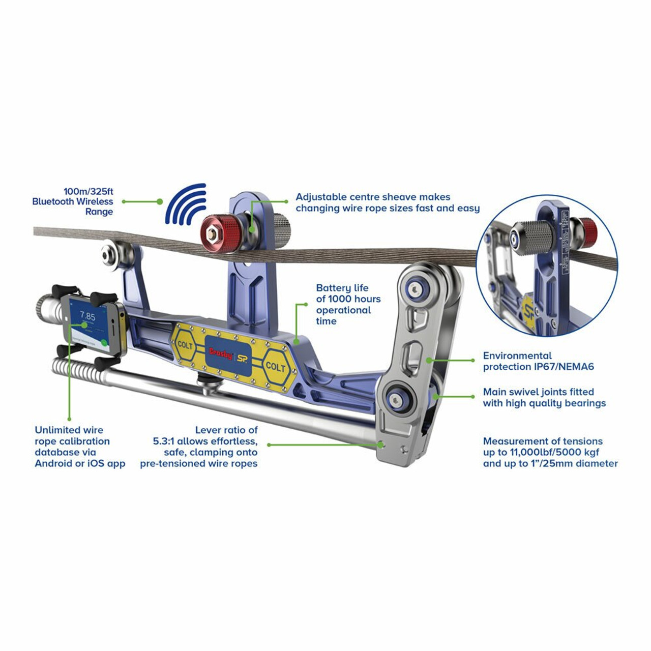 COLT5T Bluetooth Clamp on line Tensiometer | Max Load 11,000 lbs | Made in  the United Kingdom