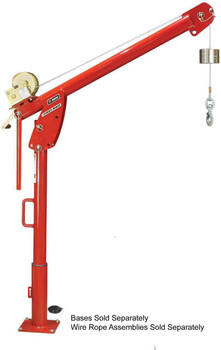 5PF5-M2 - Powder Coated - Red Powder Coat Worm Gear Hand Winch - Base & Wire Rope Ordered Separately
