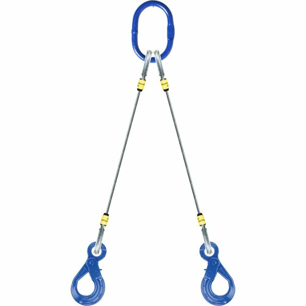 12-9-3L West-Grip Wire Rope Sling - Double Leg - w/Positive Locking Eye Sling Hook & Crosby G-414 Thimble Eye & Thimble Eye (a Western Sling Company Brand)