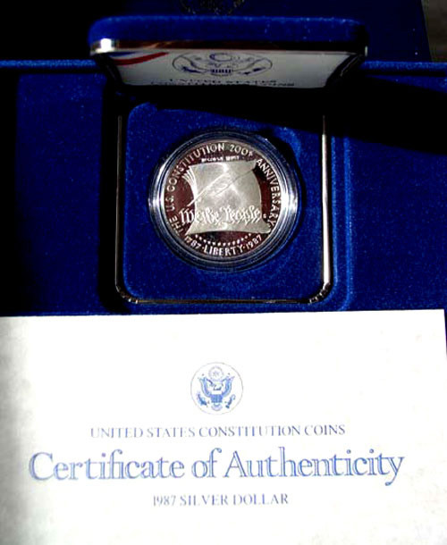 1987 Proof Constitution Silver Dollar in Original Mint Packaging