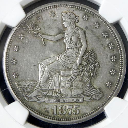 1875-S NGC AU58 TRADE DOLLAR - Nice Type Coin