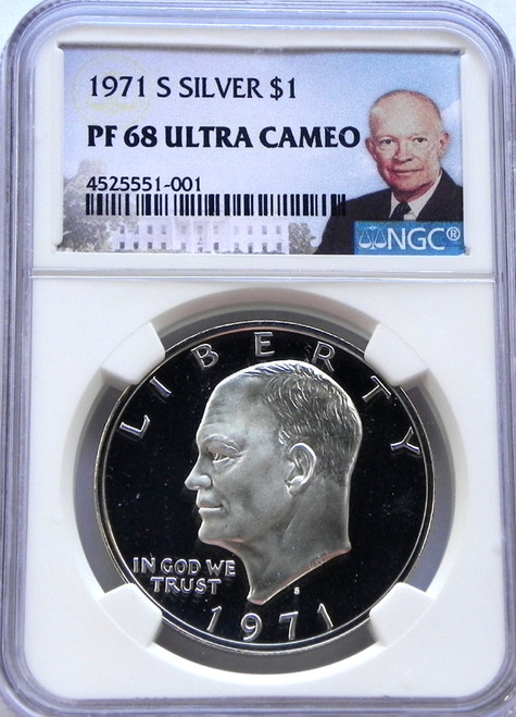 1971-S NGC PROOF 68 ULTRA CAMEO EISENHOWER SILVER DOLLAR