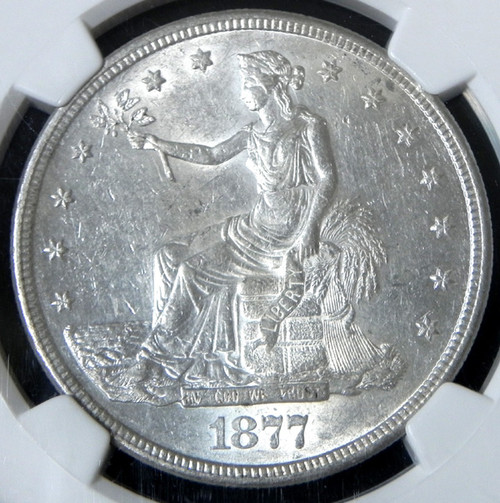 1877-S NGC AU58 TRADE DOLLAR - Bright Satiny Luster